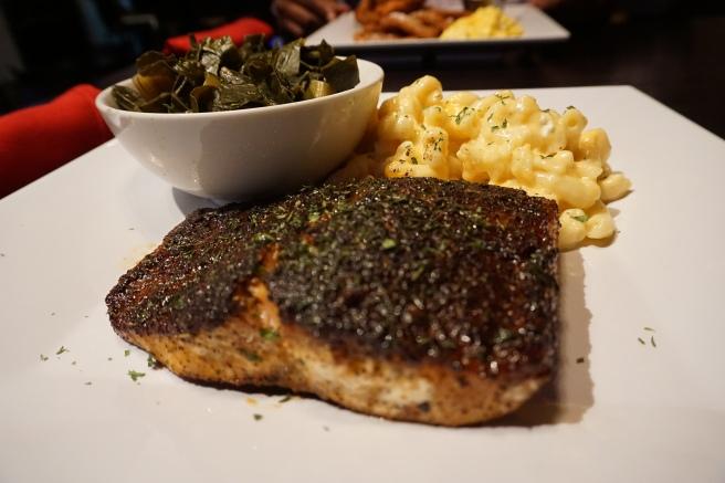 Blackened Salmon with Mac & Cheese and Collard Greens